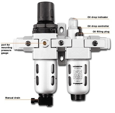 "63 CFM Filter Regulator Combination & Lubricator - 3/8"" NPT"